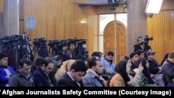 ارشیف، یو شمېر افغان خبریالان د یوې خبري ناستې پر مهال