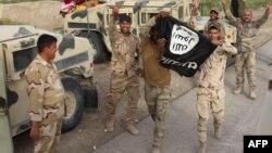Ирактын армиясы ИМ тобунун желегин кармап, аларды жеңгенин көргөзүүдө. Анбар провинциясы, 5-май, 2016-жыл