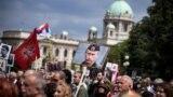 Transparent sa likom ruskog predsednika, Beograd