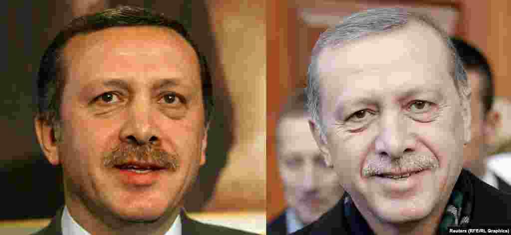 Лидер Турции Реджеп Тайип Эрдоган в 2003-м (слева) и в 2015 году.