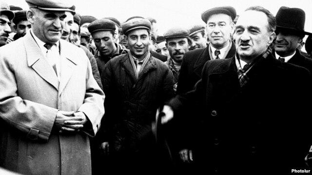 Armenia - Anastas Mikoyan (R), a member of the Soviet Politburo, visits Soviet Armenia.