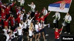 Olimpijski tim Srbije na otvaranju Olimpijade u Londonu, juli 2012.