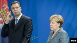 српскиот премиер Александар Вучиќ и германската канцеларка Ангела Меркел