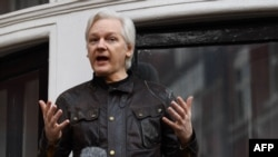 Wikileaks founder Julian Assange speaks on the balcony of the Embassy of Ecuador in London on May 19.