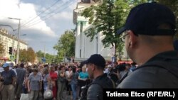 Andrei Nastase supporters protest at Chisinau City Hall against the invalidation of his election victory.