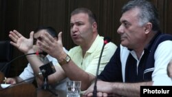 Armenia - Leaders of the opposition minority in parliament hold a joint news conference, Yerevan, 2Jul2014.