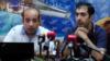 Адвокаты второго президента Армении Роберта Кочаряна Ованнес Худоян (слева) и Арам Орбелян на пресс-конференции, Ереван, 3 июля 2019 г.