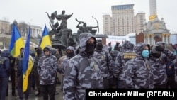 Far-right protesters rally on the Maidan in Kyiv on March 16.