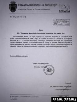 Coperta raportului elaborat de Corpul de Control al Primarului General