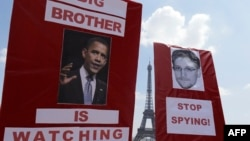 Europeans, including protesters in France, have expressed anger since the revelations of U.S. surveillance leaked by former contract worker Edward Snowden.