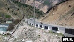 Tajikistan --- Mountain road in north Tajikistan, Mar2005