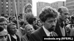 Сяргей Навумчык і Зянон Пазьняк на мітынгу супраць ГКЧП. Фота Ул. Кармілкіна
