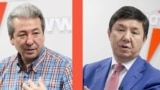 Kyrgyzstan. Leader Party Ak Shumkar Temir Sariev and Leader of the Butun Kyrgyzstan Party Adahan Madumarov.