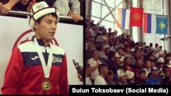 55 килограммга чейинки салмакта кыргыз күрөшүнөн Көчмөндөр оюндарынын чемпиону болгон Бекзат Тынчтыкбек уулу.