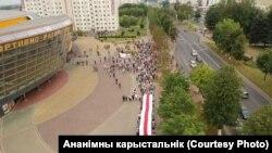 23 август, шаҳри Молодечно. Мардум ба намоиши эътирозӣ мераванд