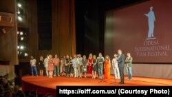 Знімальна група фільму «Донбас» на Одеському міжнародному кінофестивалі
