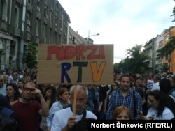 """Protest """"Podrži RTV"""" u Novom Sadu"""