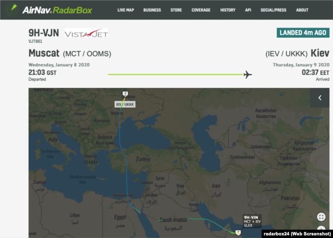 З аеропорту міста Маскат о 18:30 (за київським часом) вилетів чартерний літак із бортовим номером 9H-VJN, на борту якого перебував Володимир Зеленський