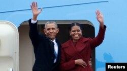 ԱՄՆ - Սպիտակ տանը հրաժեշտ տալուց հետո Բարաք և Միշել Օբամաները մեկնում են Վաշինգտոնից, 20-ը հունվարի, 2017թ․