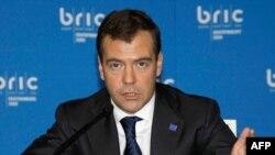Russian President Dmitry Medvedev speaks during a BRIC summit in Yekaterinburg in June 2009.