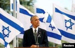 Президент США Барак Обама виступає з промовою на церемонії поховання Шимона Переса. Єрусалим, 30 вересня 2016 року