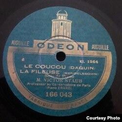 O înregistrare Victor Staub pentru Odeon Franța (Foto: prin curtoazia lui Frédéric Gaussin)