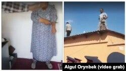 Комбинированное фото — жители города Туркестана, протестующие против сноса их домов.