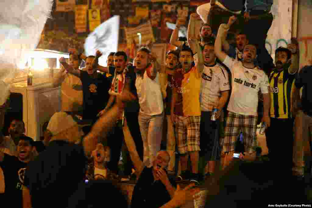 Fans of Turkey's soccer teams stand together and chant slogans against Prime Minister Recep Tayyip Erdogan. Besiktas, near Taksim Square, wears black and white; Fenerbahce, on Istanbul's Asian side, dresses in yellow and black; and Galatasaray, Turkey's most successful team, sports shades of red and yellow.