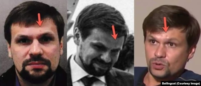 Three different images of Anatoly Chepiga. Left to right: 1) A photo of Chepiga in Gatwick airport in March 2018 released by British authorities; 2) The same man at the wedding of a daughter of a Russian military official in 2017; 3) Calling himself Ruslan Boshirov, Chepiga as he looked when interviewed by a Russian TV station shortly after the Skripal affair hit the headlines in 2018.
