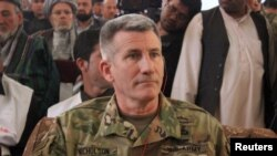 The commander of U.S. and NATO forces in Afghanistan, General John Nicholson, visited on March 22 with Kunduz leaders.