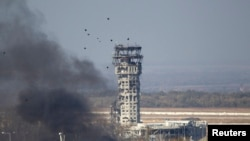 The traffic control tower of Donetsk's international airport, heavily damaged by shelling