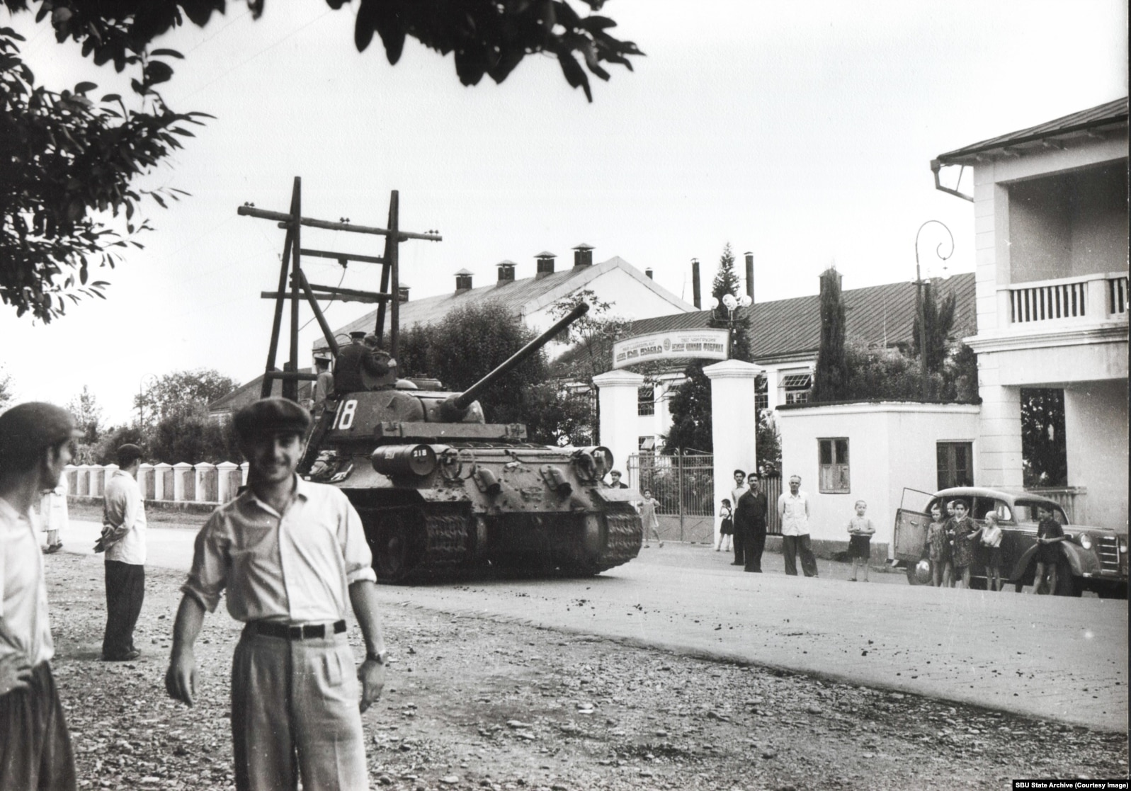 Galeotti's photo of the Soviet tank rolling down a Georgian street, likely Batumi, in 1963.*
