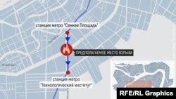 Предполагаемое место взрыва на схеме метро Санкт-Петербурга.