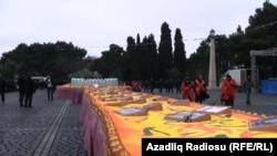İlham Əliyevin 51 yaşı tamam olanda Sumqayıtda hazırlanmış tort