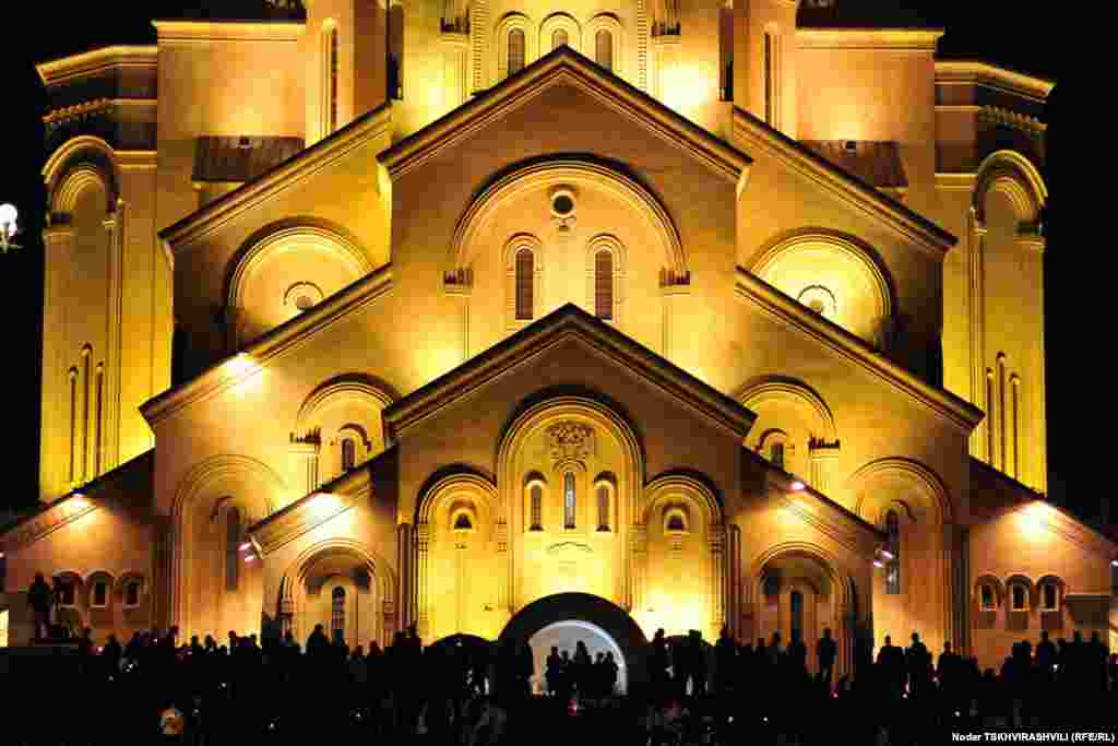 The Holy Trinity Cathedral at night. Construction began on this building in 1995 and it was completed in 2004.