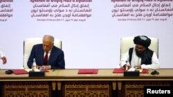 آرشیف، امضای توافقنامه صلح میان نمایندگان امریکا و طالبان در قطر
