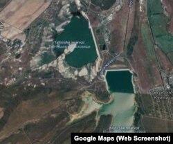 Зображення Тайганського і Білогірського водосховищ із супутника на початку червня 2020 року
