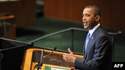 U.S. President Barack Obama speaks to the United Nations General Assembly at UN headquarters in New York on September 23.