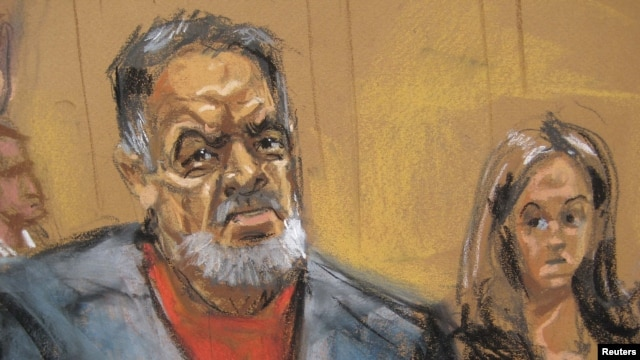 Manssor Arbabsiar is pictured in this courtroom sketch from an appearance in Manhattan Criminal Court in New York in October.