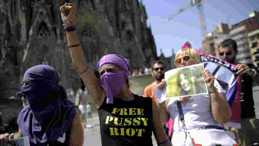 Supporters of Pussy Riot gather near the Sagrada Familia in Barcelona on August 17.