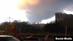 Пожар на на складе в Санкт-Петербурге. 17 октября 2015 года.