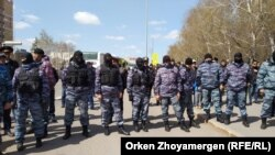Nur-Sultanda etiraz aksyası zamanı xüsusi geyimlilər də ərazidə olub