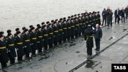 "Prime Minister Vladimir Putin visits the ""Aleksandr Nevsky"" nuclear-powered submarine in November"