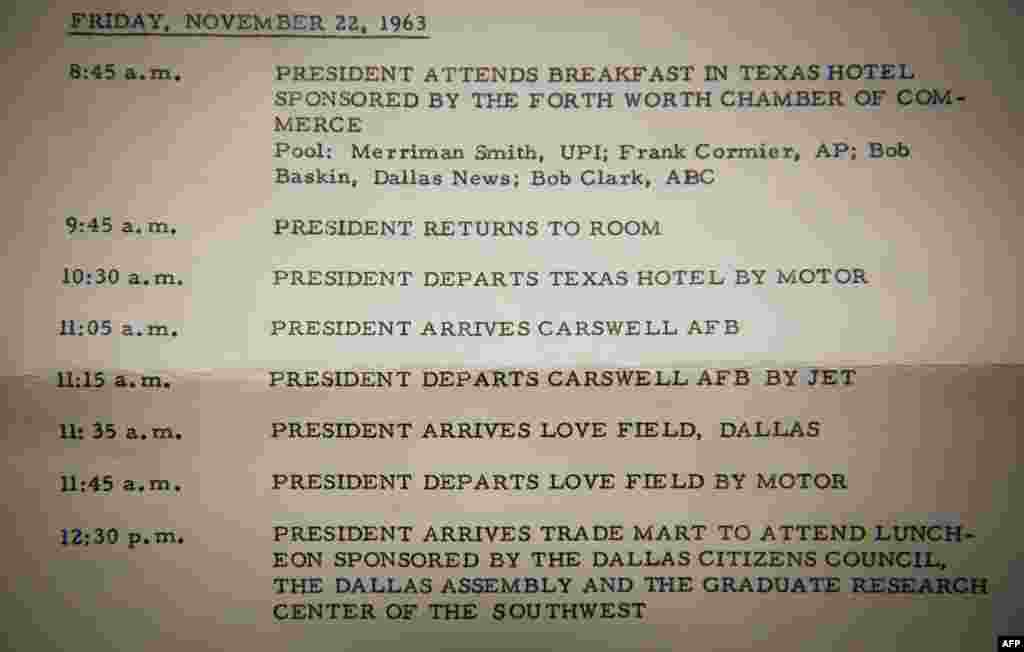 The official schedule of President John F. Kennedy, which was distributed by the White House prior to his trip to Dallas and Fort Worth. It shows the plans for his movements between 8:45 a.m. and 12:30 p.m. that day.