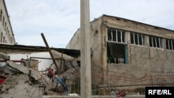 Georgia -- A school in Gori damaged by Russian bombs during the conflict (24Sep2008)