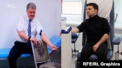 Petro Poroshenko (left) and Volodymyr Zelenskiy underwent drug and alcohol testing in Kyiv last week.