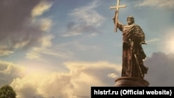 An artist's depiction of a planned Moscow monument to Grand Prince Vladimir, who converted eastern Slavs to Orthodox Christianity in the ninth and tenth centuries.