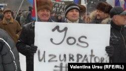 La demonstrația organizată de PCRM la Chișinău