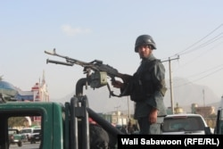 Afghan police surrounded the area around the cricket stadium after the blast.