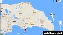 """Qəza baş verən """"Qum"""" adası. (google-map screenshot)"""